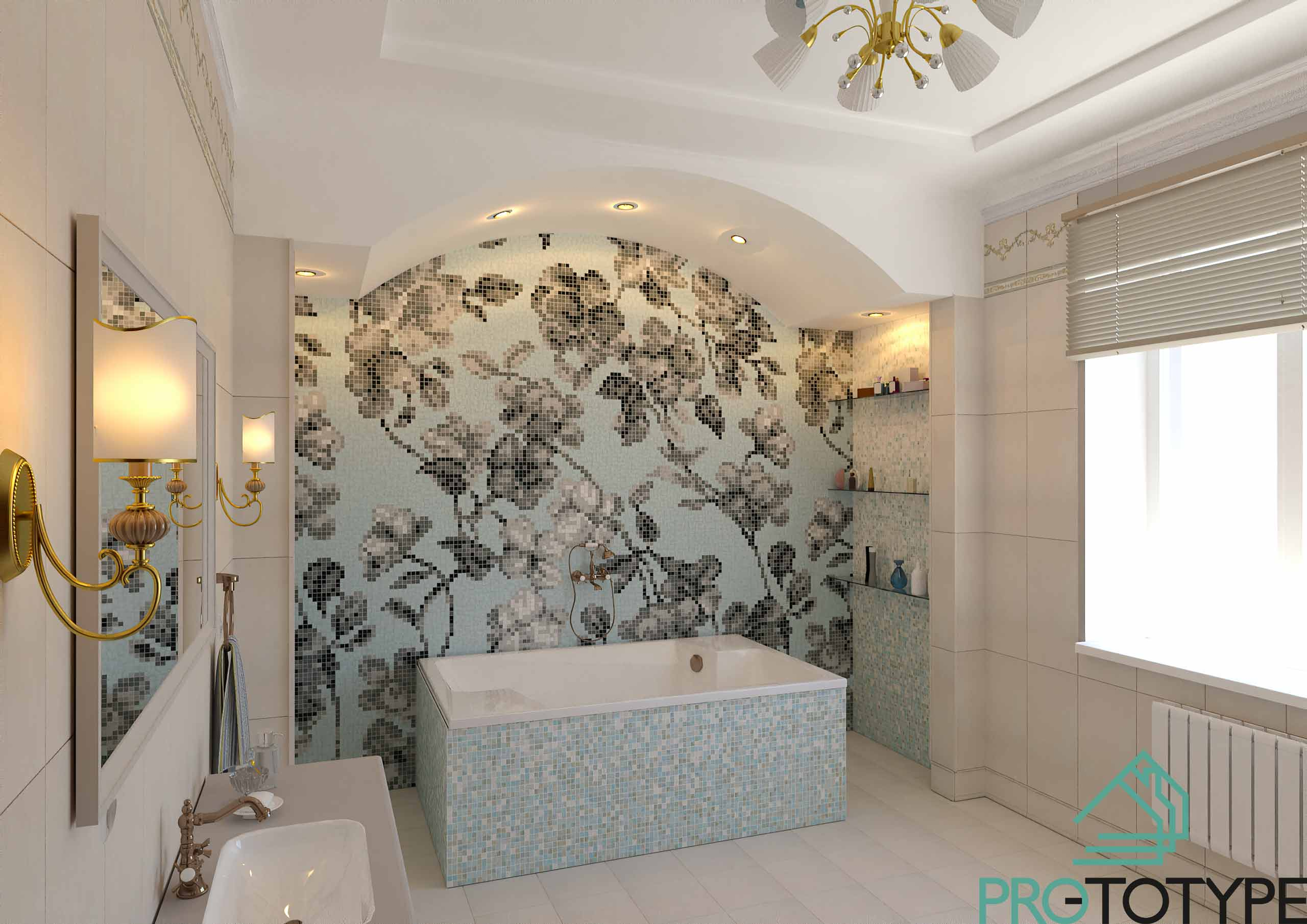 Большое окно в ванной делает комнату уютной