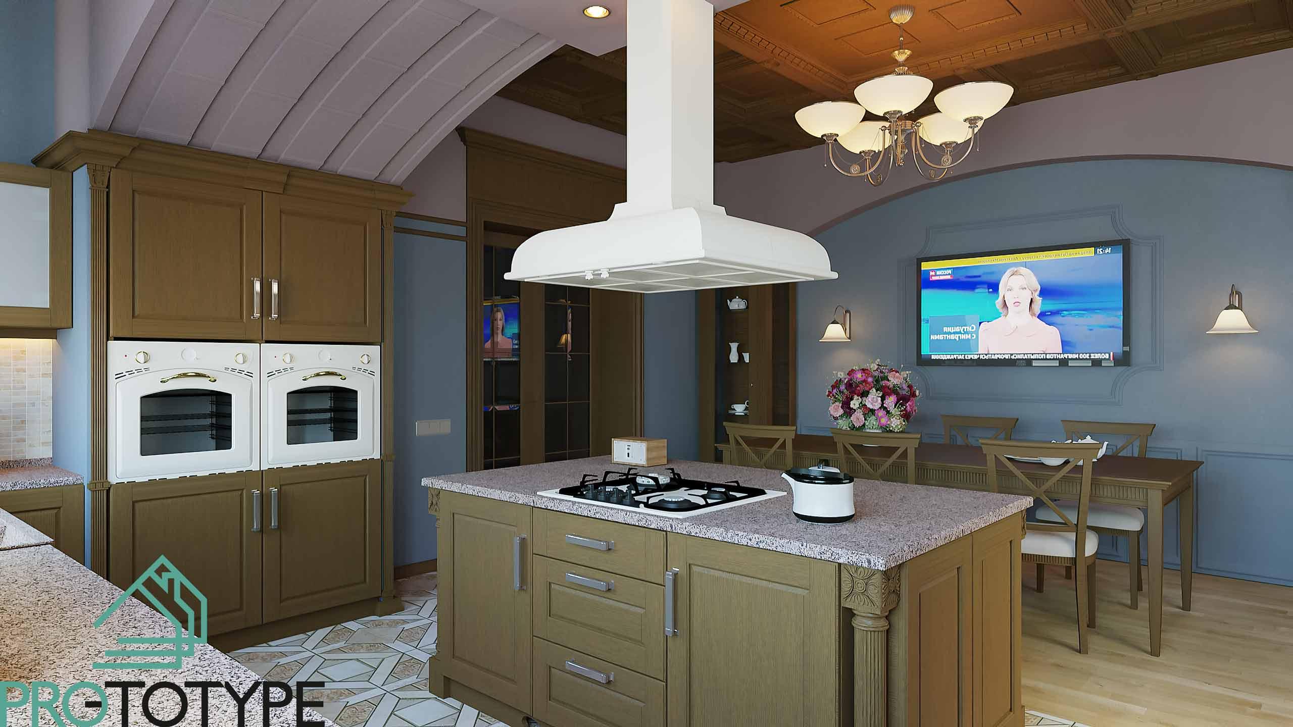 Пропорции в классическом интерьере кухни-столовой
