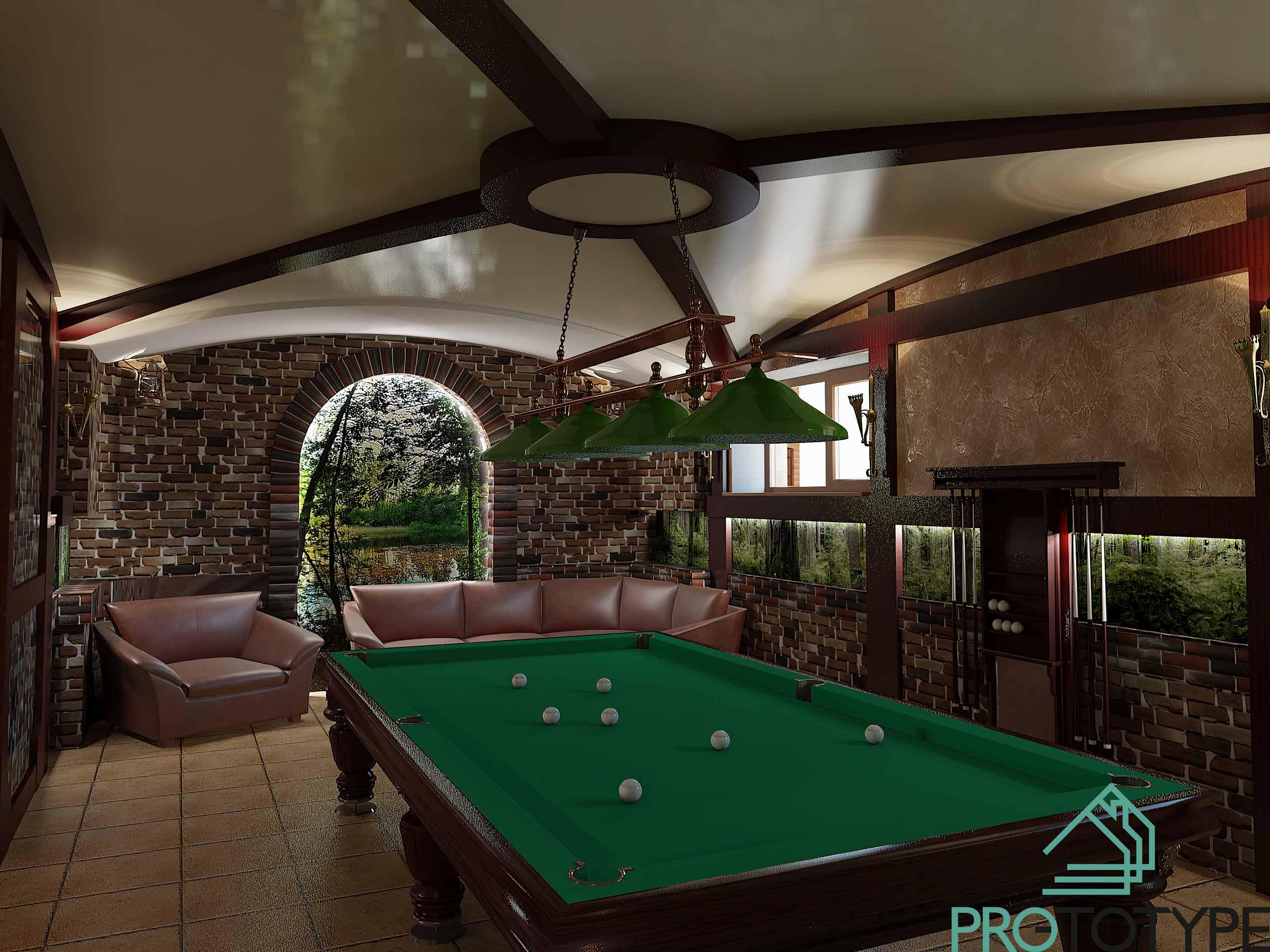 Бильярдная комната в дизайн преете частного дома