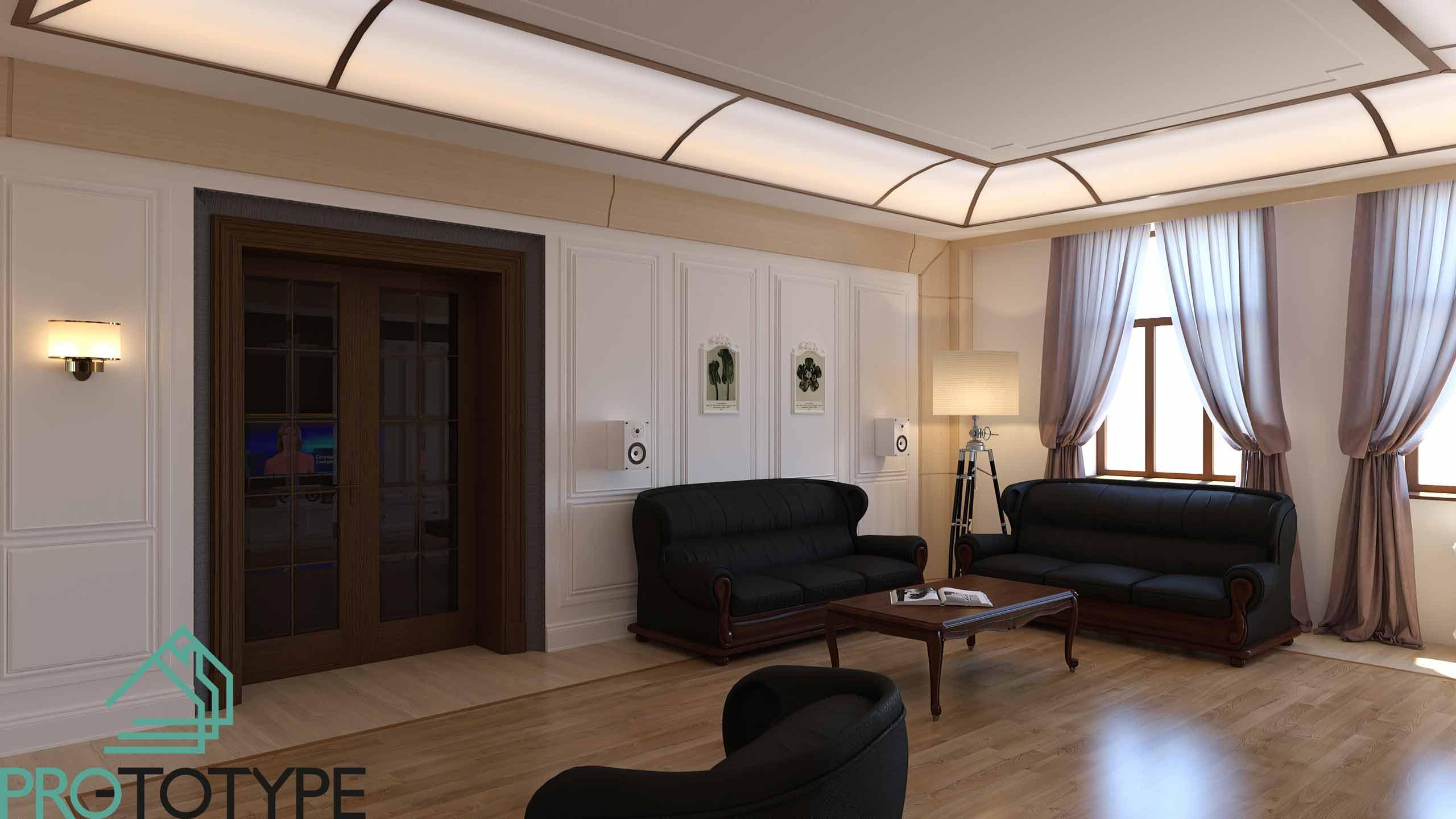 Дизайн гостиной с витражом на потолке