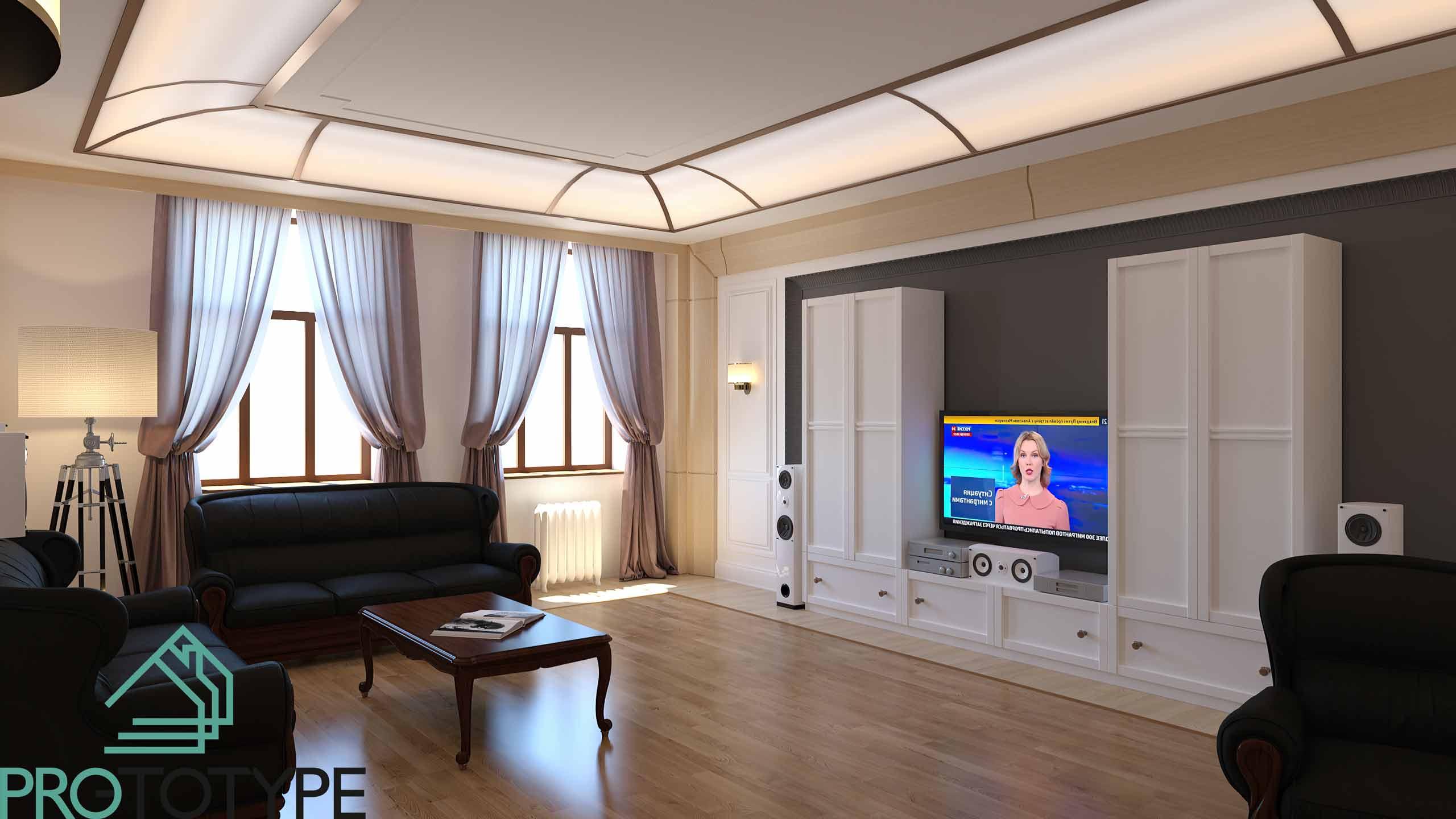 Светлая гостиная в современной классике
