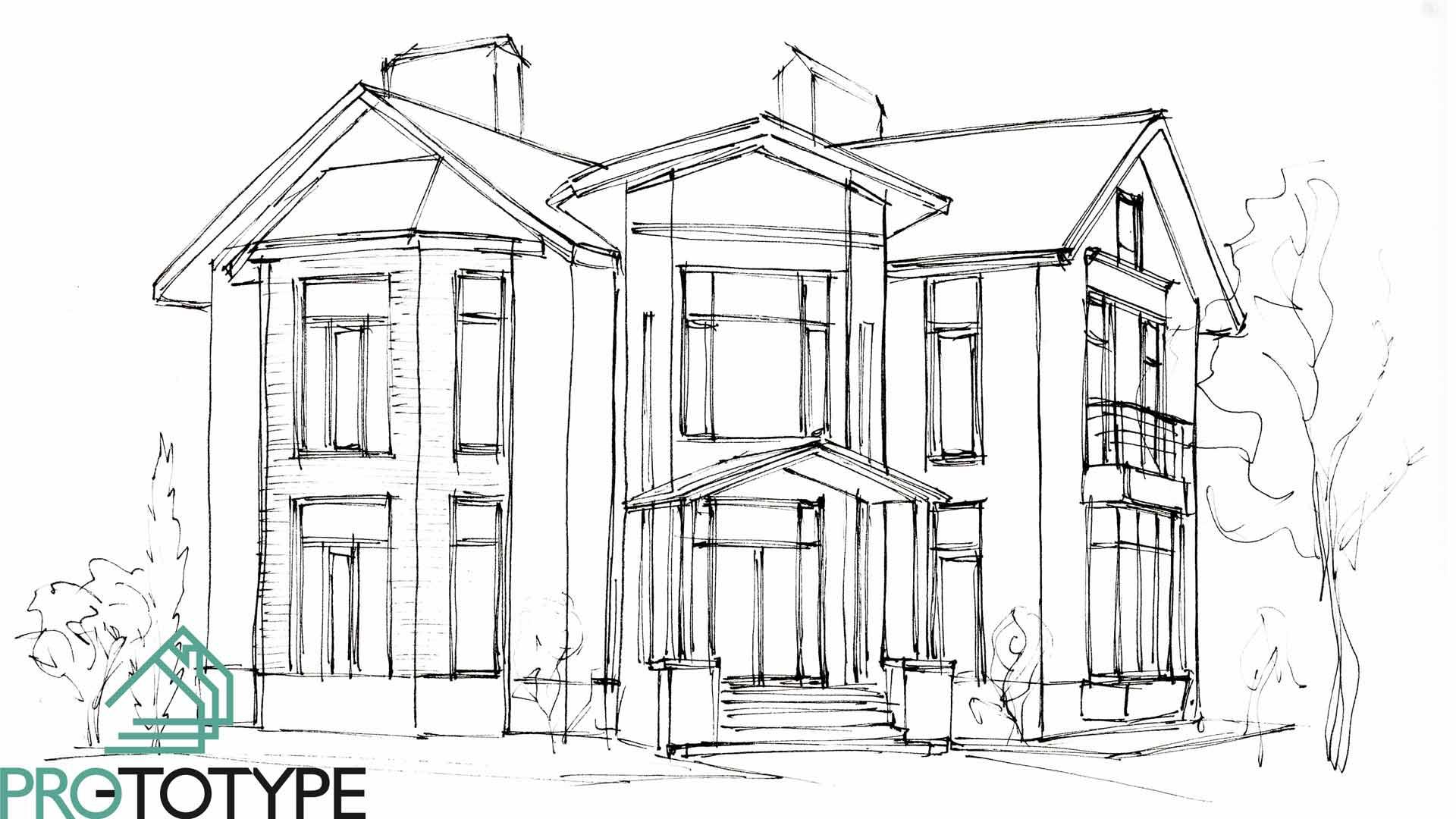 Эскиз проекта дома с эркером