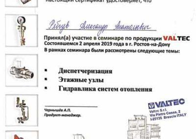 Сертификат Рябцева Александра Анатольевича VALTEC